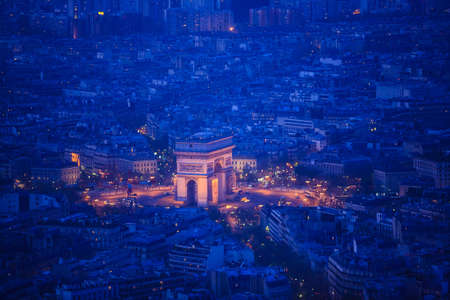 Aerial view of Paris architecture from the Eiffel tower  photo