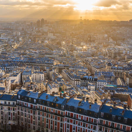 View of Paris skyline from Sacre Coeur Basilica in France photo
