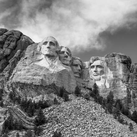 Mount Rushmore National Monument in South Dakota black and white