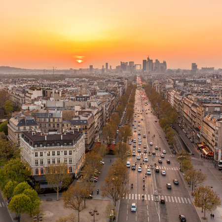 The famous Champs-Elysées in Paris from the top of the Arc De Triomphe at night Stock Photo Stock Photo - 24672237