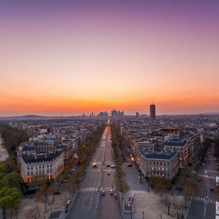 The famous Champs-Elysées in Paris from the top of the Arc De Triomphe at night Stock Photo  photo