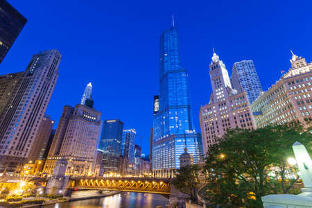City of Chicago. Image of Chicago downtown and Chicago River with bridges at twilight. photo