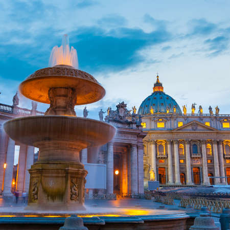 st  peter s square: Vatican Italy Rome state of religion Christianity landmark,  St Peter cathedral at twilight
