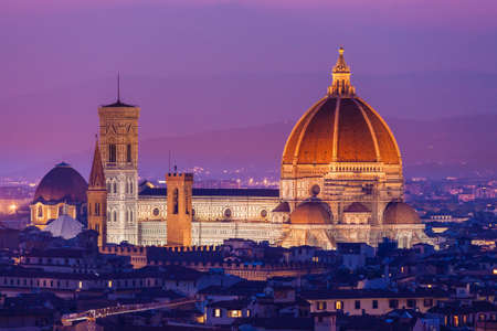 Santa Maria del Fiore, the Florence Duomo at sunset photo
