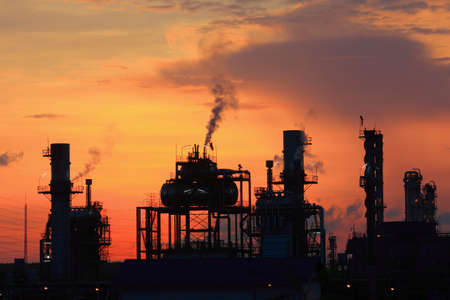 Oil refinery at twilight  Map Ta Phut Industrial Estate Rayong Thailand  photo