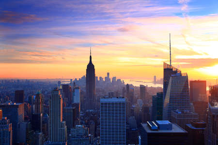 New York City skyline at sunset with empire state building, Manhattan
