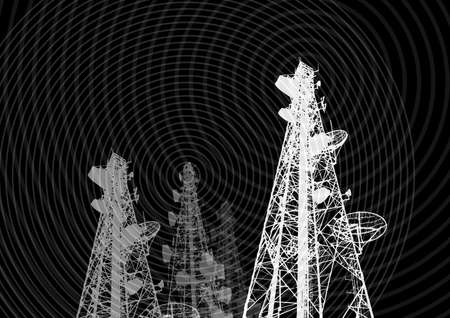 Telecommunications tower, TV, radio or mobile phone base station in Vector Format