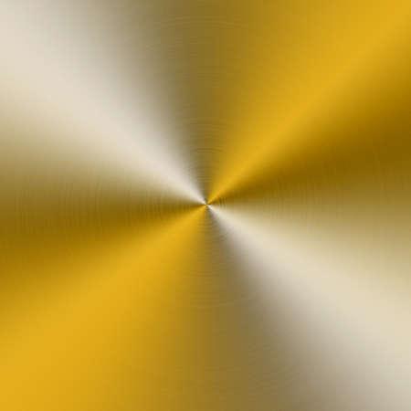brushed aluminum: circular brushed aluminum texture yellow Stock Photo
