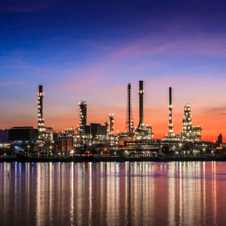 Oil refinery at twilight (sunrise) photo