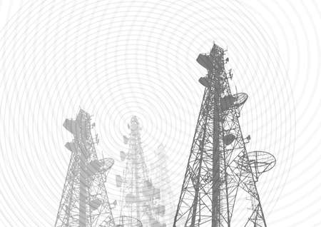 radio station: Telecommunications tower, TV, radio or mobile phone base station in Vector Format