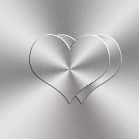 brushed aluminum: circular brushed aluminum texture with heart shap