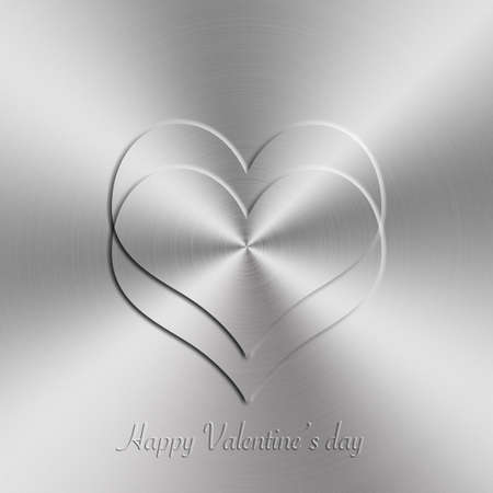 nickel panel: circular brushed aluminum texture with heart shap for Valentines day
