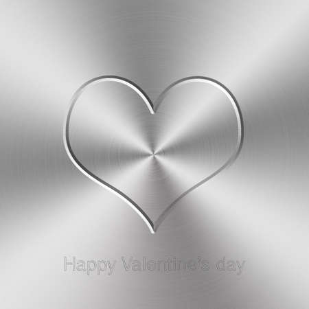 brushed aluminum: circular brushed aluminum texture with heart shap for Valentines day