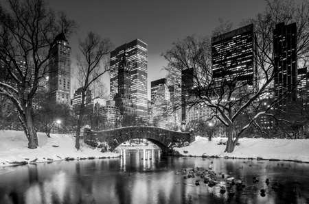 Gapstow bridge in winter, Central Park New York City in black and white photo
