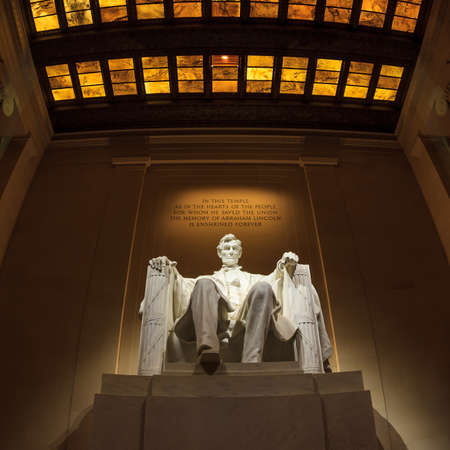 Lincoln Memorial statue at night, Washington, DC Editorial