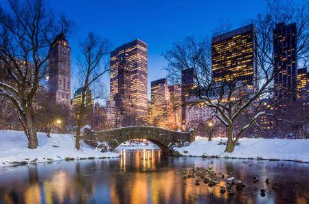 garden city: Gapstow bridge in winter, Central Park New York City