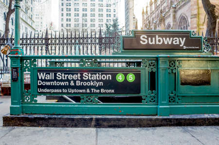 subway entrance: Subway entrance in Lower Manhattan at Wall Street