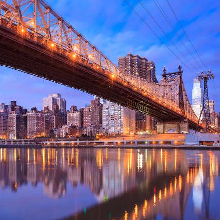 New york city skyline at Queen Bridge photo