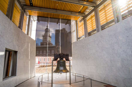 liberty bell: Liberty Bell  old symbol of American freedom  in Independence Mall building in Philadelphia Pennsylvania