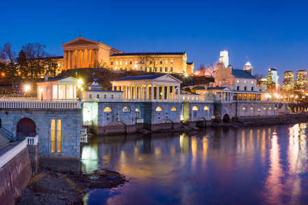 Philadelphia Art Museum and Fairmount Water Works at twilight Editorial