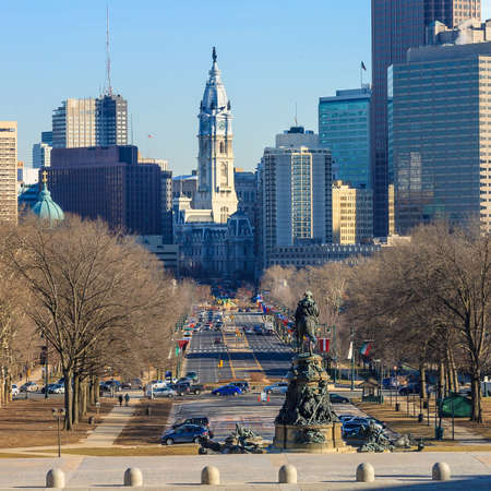 keystone light: Philadelphia skyline, taken from the art museum
