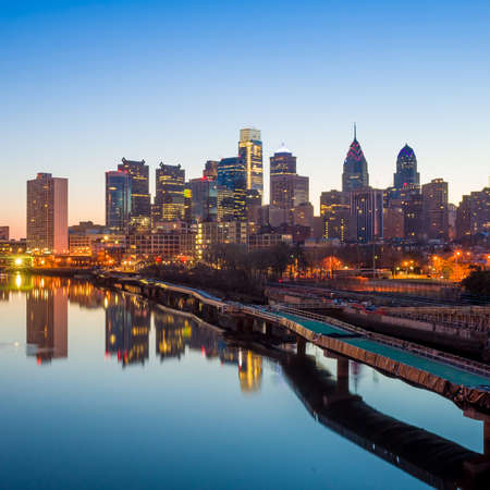 Downtown Skyline of Philadelphia, Pennsylvania at twilight