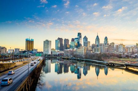philadelphia: Downtown Skyline of Philadelphia, Pennsylvania at twilight