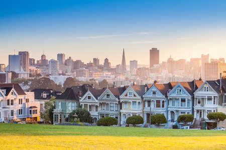 Famous view of San Francisco at Alamo Square CA, USA photo