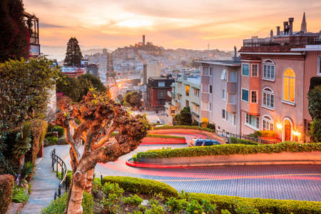Famous Lombard Street in San Francisco at sunrise Stock Photo