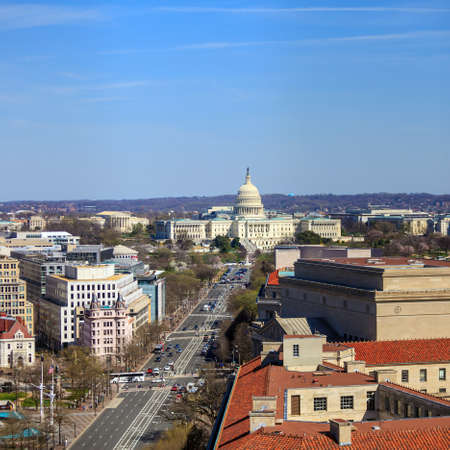 ronald reagan: Washington DC, skyline with Capitol building and other Federal buildings on Pennsylvania Street
