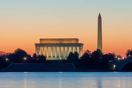 Washington DC skyline at sunrise including Lincoln Memorial and Washington Monument