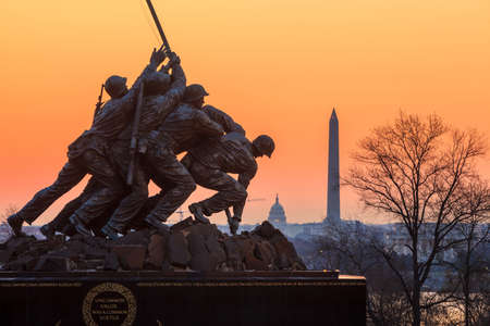 Iwo Jima Memorial(Marine Corps War Memorial) Washington DC USA at sunrise Stock Photo - 28239187