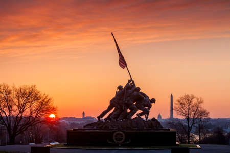 Iwo Jima Memorial(Marine Corps War Memorial) Washington DC USA at sunrise