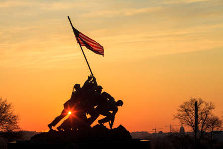 Iwo Jima Memorial(Marine Corps War Memorial) Washington DC USA at sunrise Stock Photo - 28239189