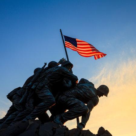 Iwo Jima Memorial(Marine Corps War Memorial) Washington DC USA at sunrise Stock Photo - 28239190