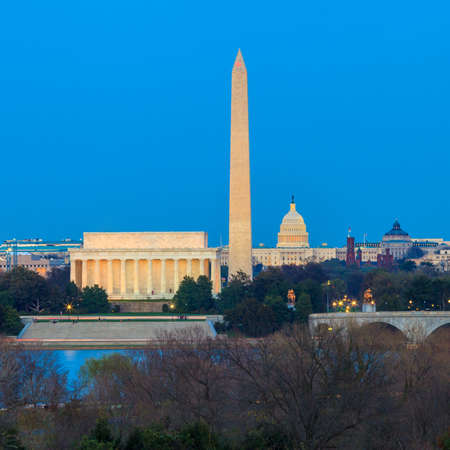 Washington DC skyline including Lincoln Memorial, Washington Monument and United States Capitol building at twilight
