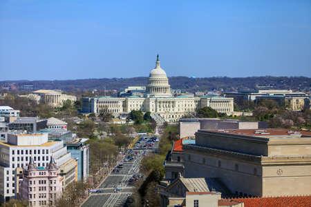 워싱턴 DC, 펜실베이니아 거리에있는 국회 의사당 건물 및 기타 연방 건물의 스카이 라인