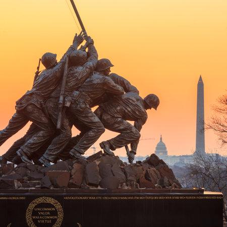 Iwo Jima Memorial(Marine Corps War Memorial) Washington DC USA at sunrise Stock Photo - 28239349