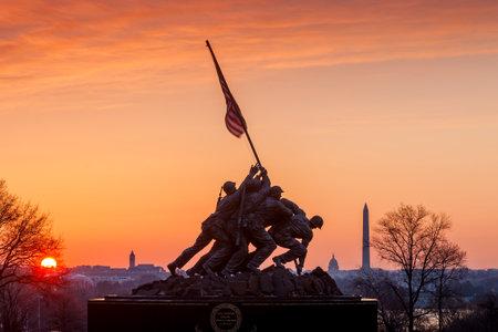 Iwo Jima Memorial(Marine Corps War Memorial) Washington DC USA at sunrise