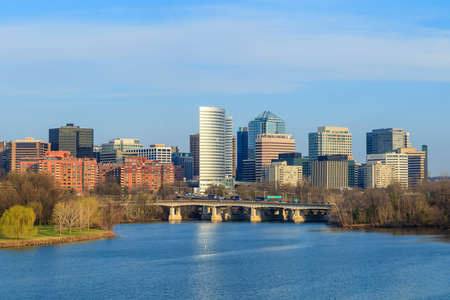 Rosslyn Virginia skyline viewed from Memorial Bridge, Washington, DC Reklamní fotografie - 28241193
