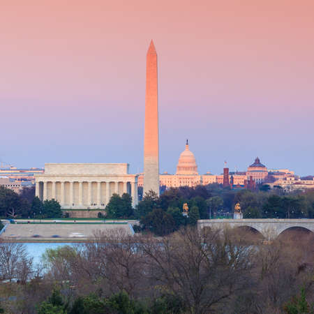 Washington DC skyline including Lincoln Memorial, Washington Monument and United States Capitol building