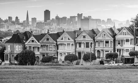 Famous view of San Francisco at Alamo Square CA, USA photo