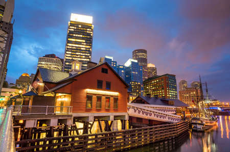 boston tea party: Boston Harbor and Financial District at twilight and Tea Party Ships & Museum in Boston, Massachusetts.