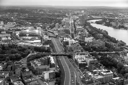 Boston aerial view at sunset with cityscape and buildings in black and white. photo