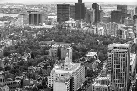 Boston Public Garden and Boston Commons from top view in Massachusetts - USA. photo