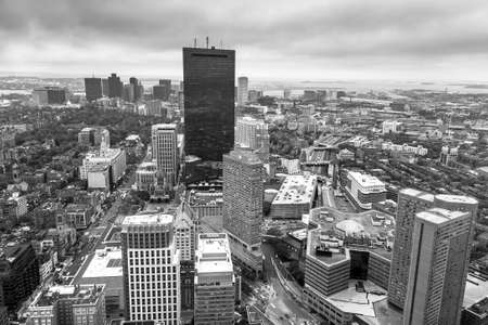 boston tea party: Aerial view of Boston in Massachusetts, USA. in black and white