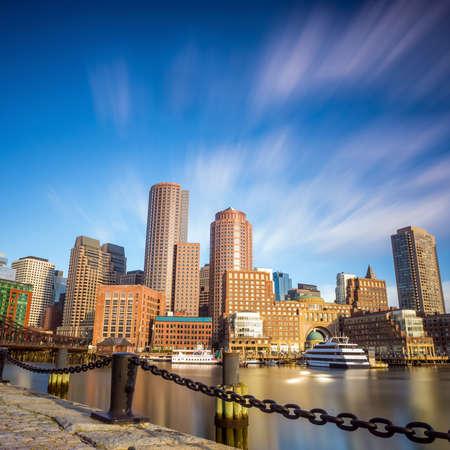 boston tea party: Boston Harbor and Financial District in Boston, Massachusetts.