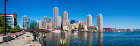 boston tea party: Panorama of Boston Harbor and Financial District in Boston, Massachusetts. Stock Photo