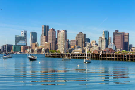 Boston skyline seen from Piers Park, Massachusetts, USA Stock Photo