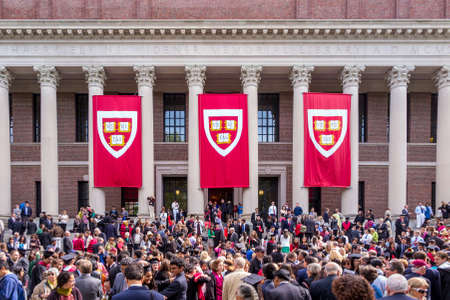 CAMBRIDGE, MA - MAY 29: Students of Harvard University gather for their graduation ceremonies on Commencement Day on May 29, 2014 in Cambridge, MA. Stock Photo - 29310289